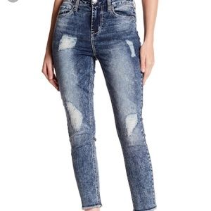 Seven7 Rip Repair High Rise Skinny Ankle Jeans